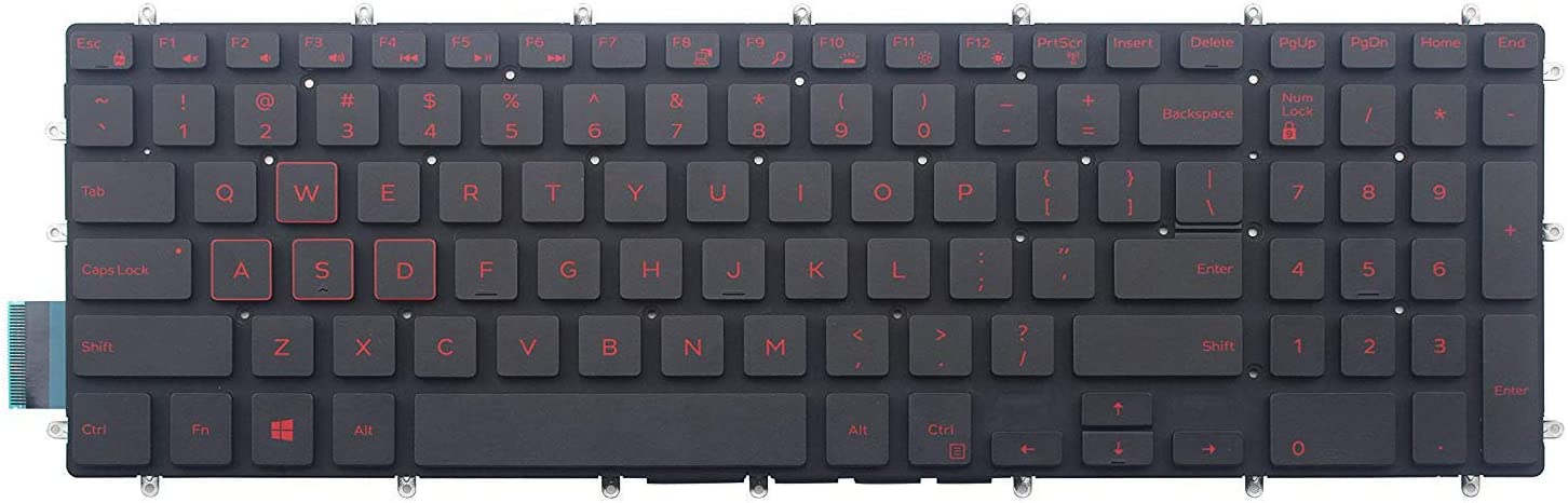 AUTENS Replacement US Keyboard for Dell Inspiron 3579 3583 3779 5565 5567 5570 5575 5587 7566 7567 7577 7588 5765 5767 5770 5775 7773 7778 7779 Laptop No Frame (Red Backlight)