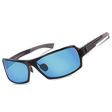 DUCO 9019 Gafas de Sol Polarizadas Unisex con Marco de Metal Irrompible Marco Negro Lentes Azul