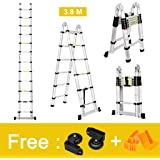 Finether 12.5ft Aluminum Telescopic Extension Ladder | Portable Heavy Duty Multi-Purpose Telescoping Ladder, EN 131 Certified A-Frame Ladder with Hinges,330 Lb Capacity