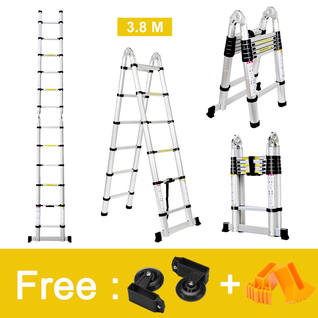 Finether 12.5ft Aluminum Telescopic Extension Ladder | Portable Heavy Duty Multi-Purpose Telescoping Ladder, EN 131 Certified A-Frame Ladder with Hinges,330 Lb Capacity by Finether