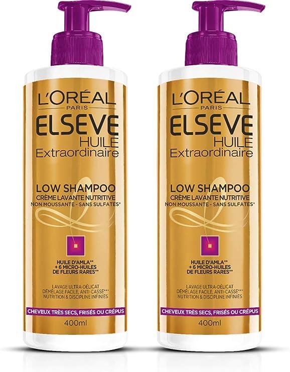 L'Oréal Paris Elsève Low Shampoo Nutrition Cheveux Frisés, Crépus, Très Secs 400 ml Lot de 2