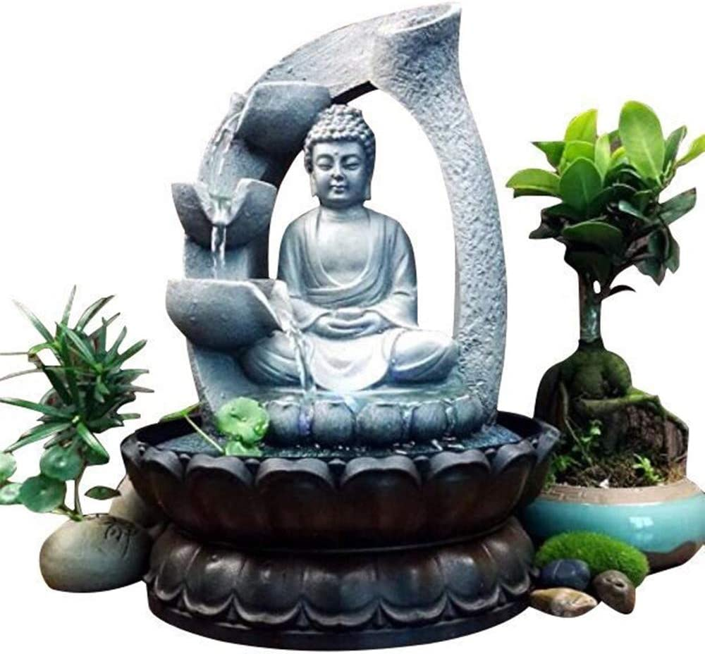 Xshelley 11 inch Buddha Resin Tabletop Fountain Decoration