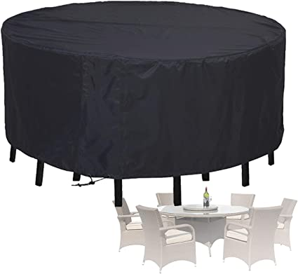 Amazon.com : ALGWXQ Round Table Covers Outdoor Garden Furniture Cover 210D Oxford Cloth Waterproof UV Resistant,25 Sizes (Color : Black, Size : 260x110cm) : Garden & Outdoor