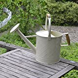 Calunce 6.5L Double Wooden Handle Fashion Rustic Retro Textured Gardening Tools Long Spout Watering Can (white)