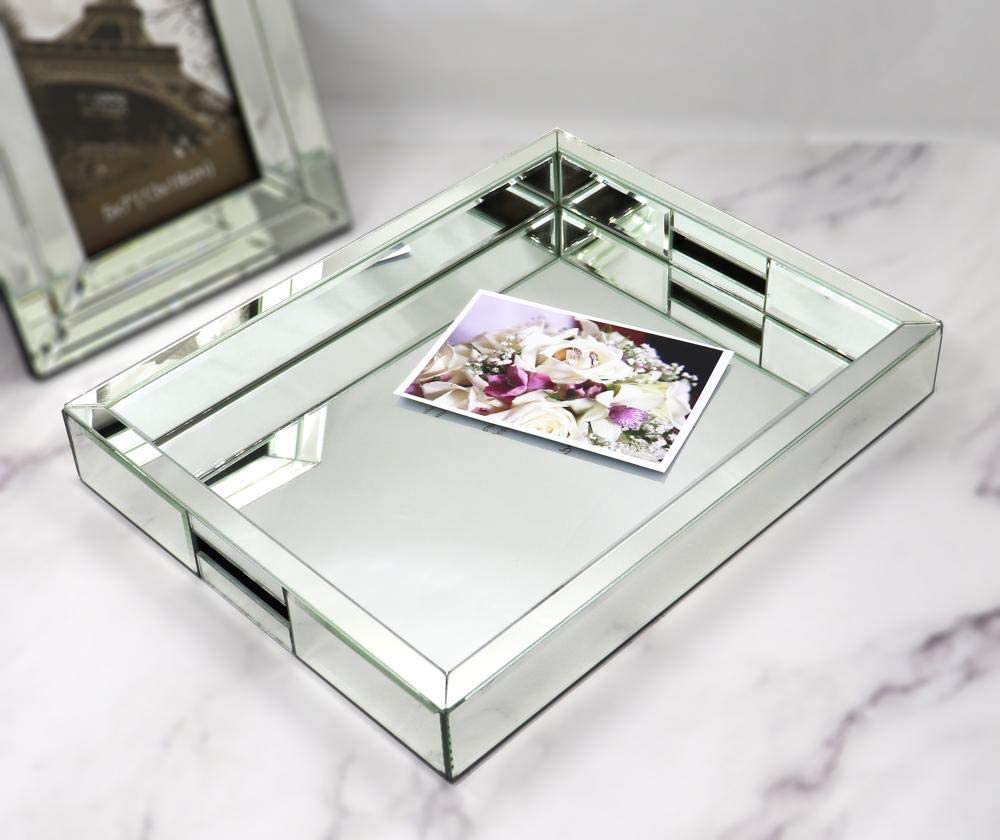 """Rectangle Silver Mirror Decorative Tray Size 11"""" Length x 14"""" Width x 2"""" Height, Mirrored Vanity Organizer with Hand, Markup Perfume Jewelry Tray for Bathroom Bedroom Dresser Coffee Table qmdecor: Kitchen & Dining"""