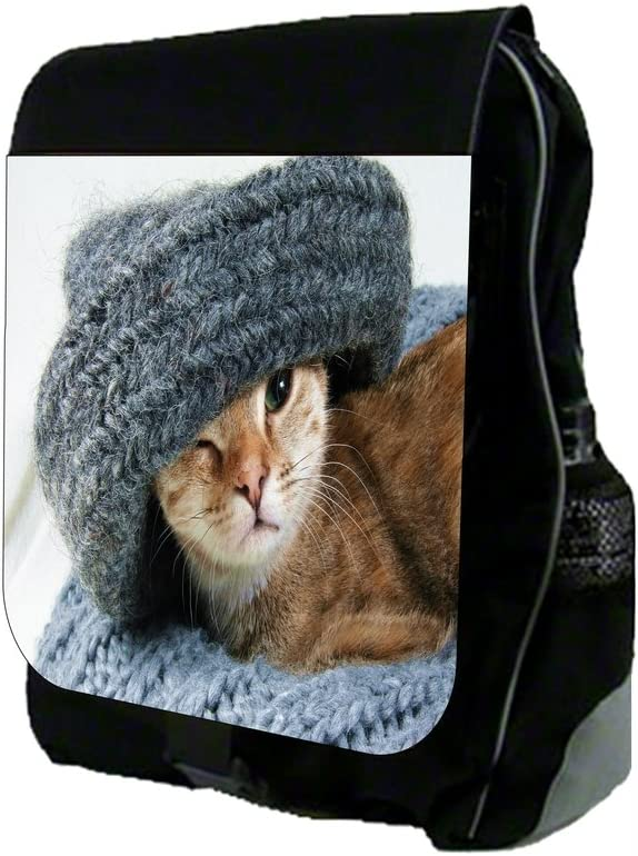 Kitty in a Grey Wooly Blanket School Backpack and Pencil Case Set