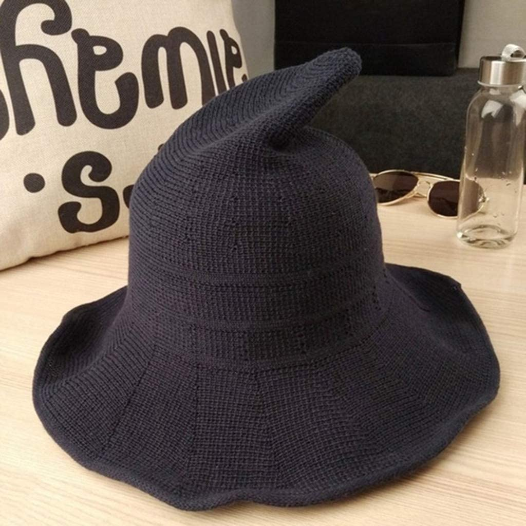 Halloween Witch Hats Cotton Knitting Hats Pointed Basin Bucket Hat for Women