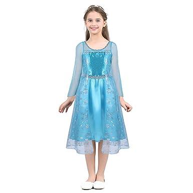 44494e40c46 iiniim Enfant Fille Halloween Costume Reine des Neiges Robe de Princesse  Elsaa Robe de Soirée Carnaval