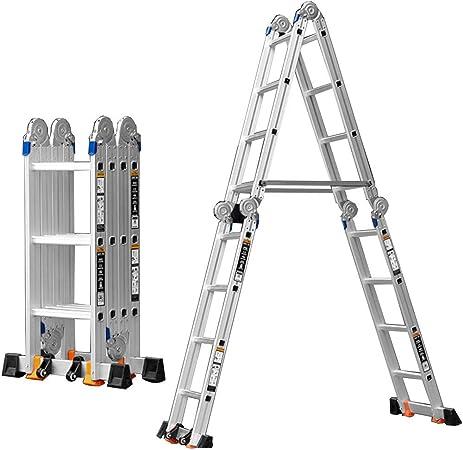 ZR- Escalera Telescópica Portátil Multifuncional Bricolaje Aleación De Aluminio Escalera De Extension Escalera Plegable, Capacidad De Carga 330lbs -Fácil de almacenar y fácil de llevar: Amazon.es: Hogar