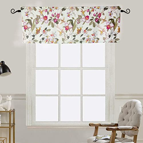 MYRU Flowers Birds Retro Curtain Valances for Windows 2 Pieces 54 W x 18 L, Valance
