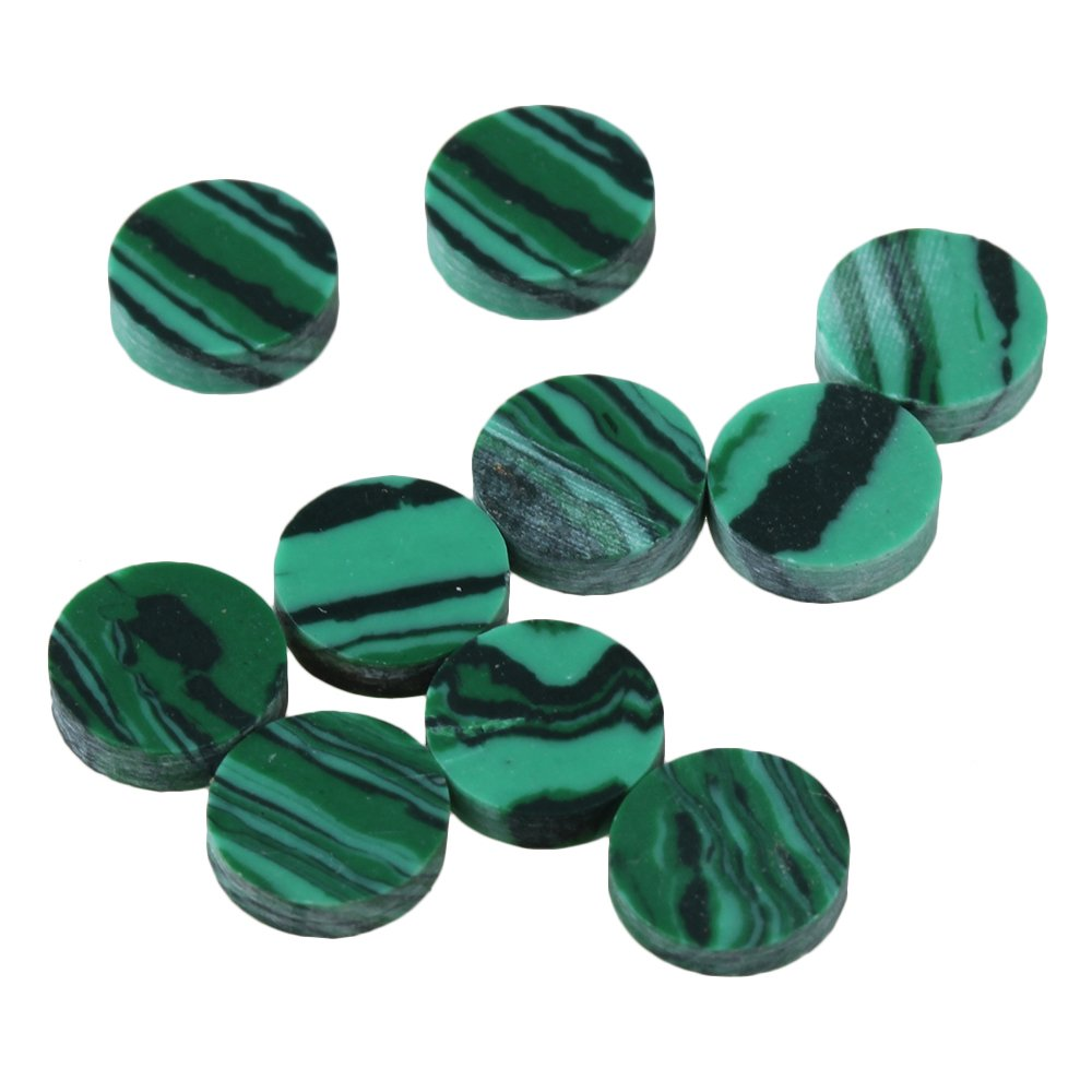 Yibuy 6.2x1.6mm Green Malachite Guitar Dots Inlay Fretboard Markers for Guitar Set of 10