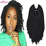 Befunny 8inch 6Packs Afro Kinky Twist Crochet Hair Short Small Havana Twist Crochet Braids Hair PreLooped Synthetic Marley Curly Braid Hair Extensions For Women 15Strands/Pack (8', 1B#)