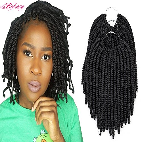 Befunny 8inch 6Packs Afro Kinky Twist Crochet Hair Short Small Havana Twist Crochet Braids Hair PreLooped Synthetic Marley Curly Braid Hair Extensions For Women 15Strands/Pack (8, 1B#)