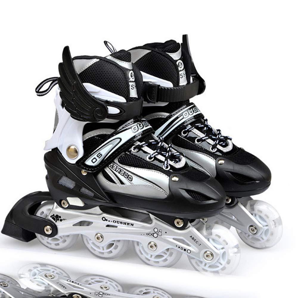 【現金特価】 大人の子供用インラインスケートローラースケート、調節可能なアルミ製ブラケット消臭剤/防水/通気性/黒/青/ピンク/赤,Blue,M B07PRHPFMR S Black Black S, エヌプランニング cc3e7fe7