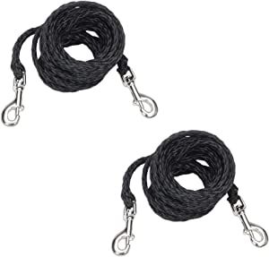 Coastal Pet Poly Big Dog Tie Out with Nickel-Plated Swivel Snaps | 20-Feet, Black | 2-Pack