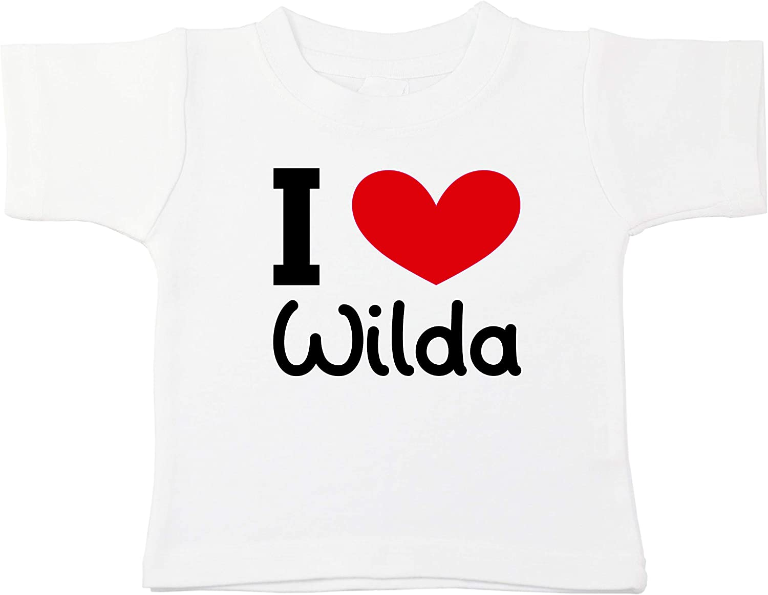 Kinacle I Love Wilda Personalized Baby//Toddler T-Shirt