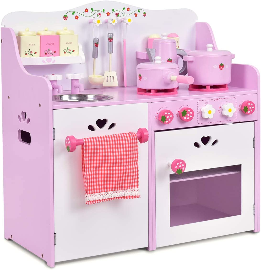 Amazon.com: Costzon Kids Kitchen Playset, Wooden Cookware ...