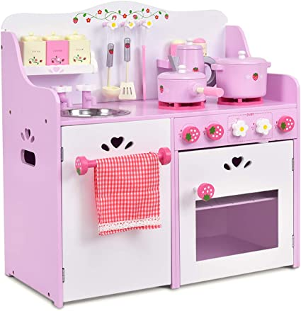 Amazon Com Costzon Kids Kitchen Playset Wooden Cookware Pretend Cooking Food Set Toddler Gift Toy 24 4 Height Pink Toys Games