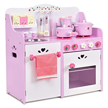 Buy Costzon Kitchen Playset Kids Wood Toy Strawberry Little Chef Pretend Cooking Play Set Pink Online At Low Prices In India Amazon In