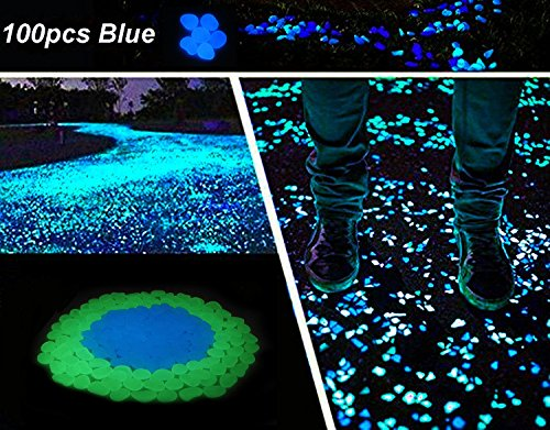 Lanker 100Pcs Glow in the Dark Stones Decorative Pebbles for Walkway Garden Yard Fish Tank Outdoor and Indoor Decor (Blue) (Garden Brick Room)