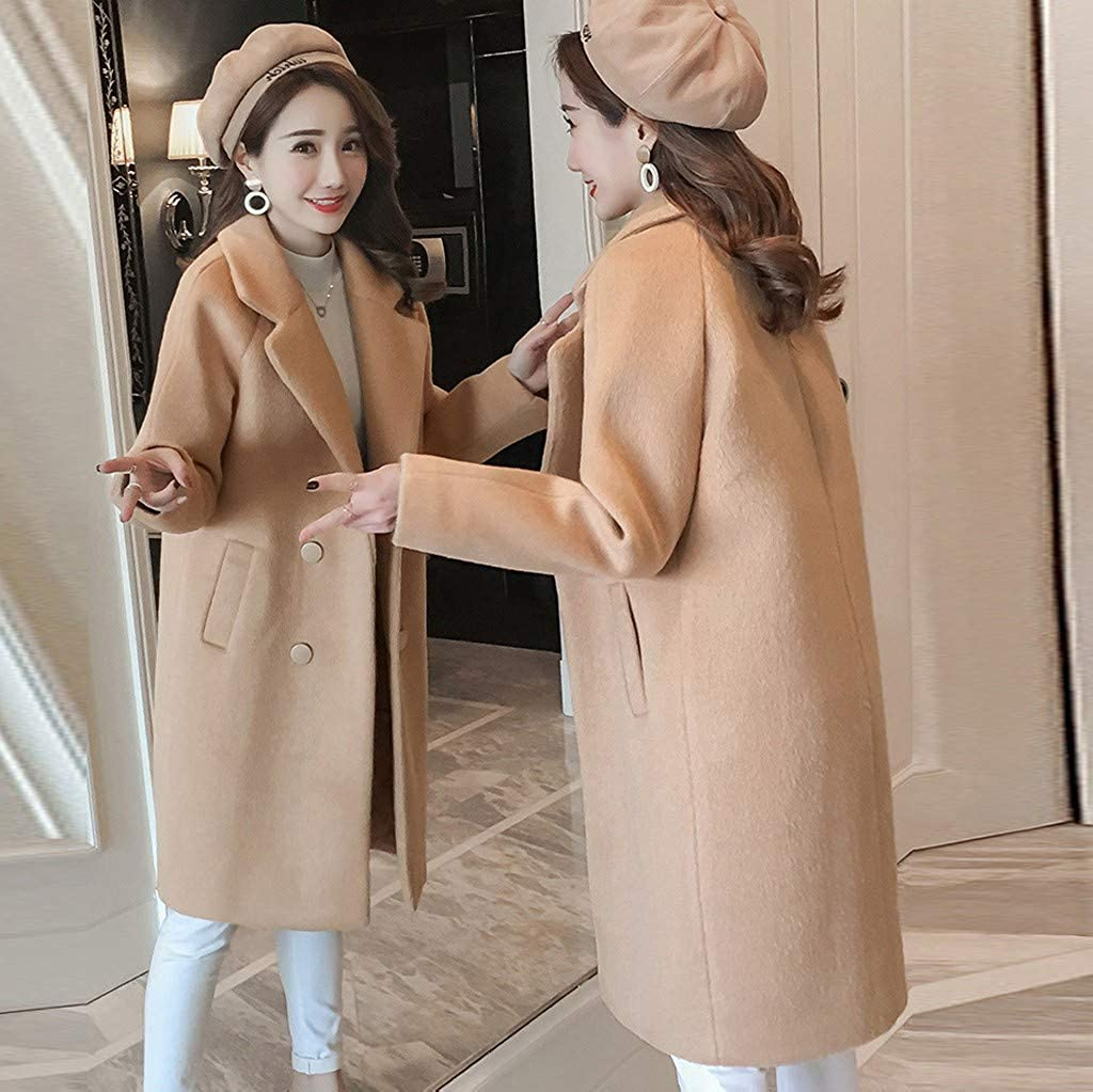 YCQUE Womens Street Clothing Solid Color Keep Warm College StudentsAutumn Winter Jacket Casual Outwear Parka Cardigan Slim Coat Overcoat