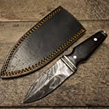 HTS-400w WENGE BOOT Knife / 3'' Blade / Hand Crafted and Hand Forged/ Damascus Steel / Fire Pattern / Clip Sheath