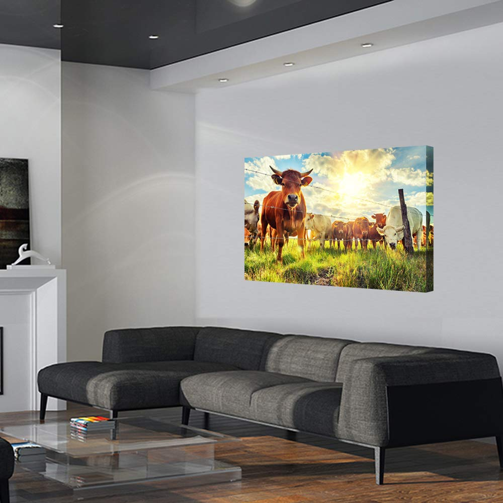 Biuteawal Wild Animal Canvas Art Print American Highland Cow in Yellowstone National Park Picture Painting Black and White Wall Art for Home Office Decoration