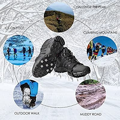 FANBX Crampon Traction Cleats Anti-skid Traction Grips Crampons Spikes 7 Point Cleats for Footwear for Walking, Jogging, Hiking, Mountaineering Ice Snow Grips