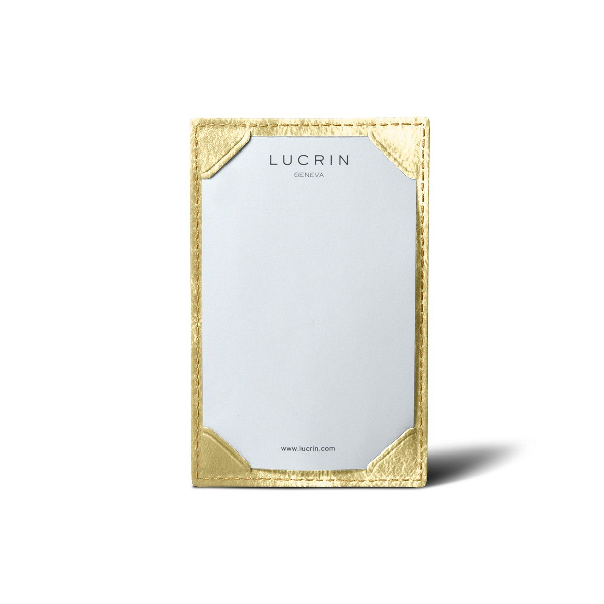 Lucrin - Small Writing Pad (4.3 x 2.8 inches) - Golden - Metallic Leather