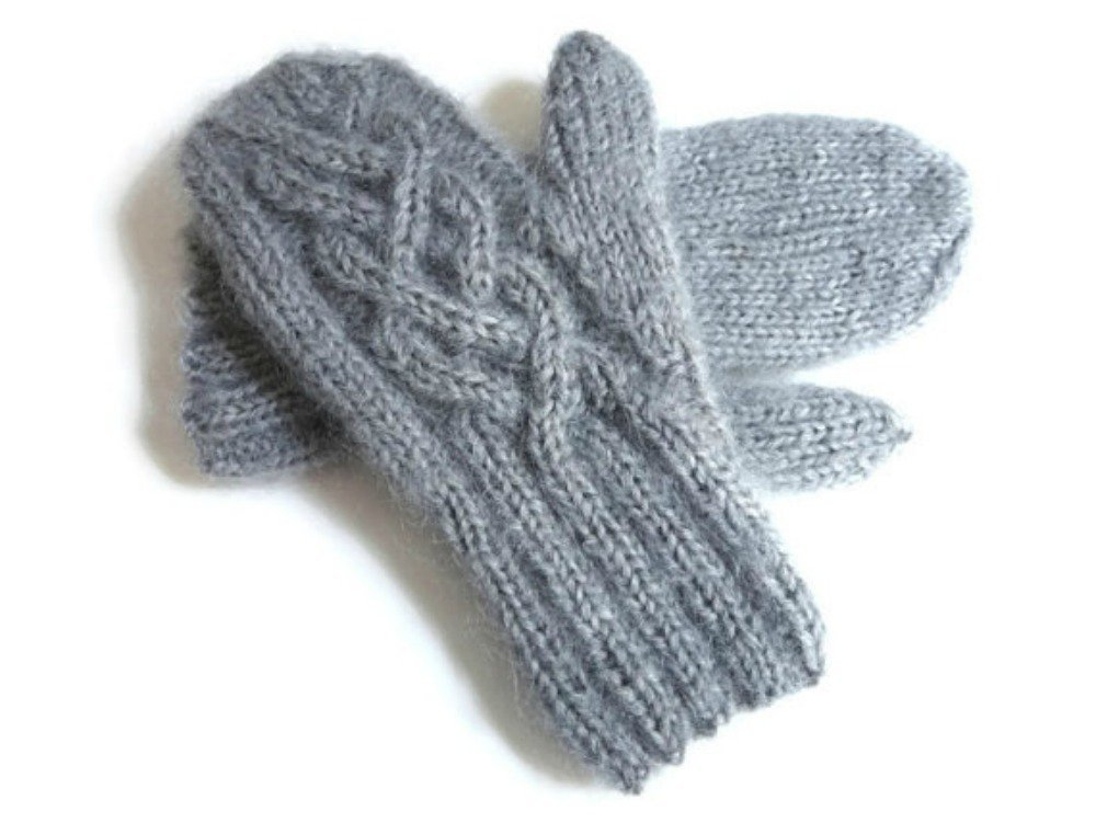 Gray Mittens Hand Knit Wool and Mohair with Celtic Twist Cable