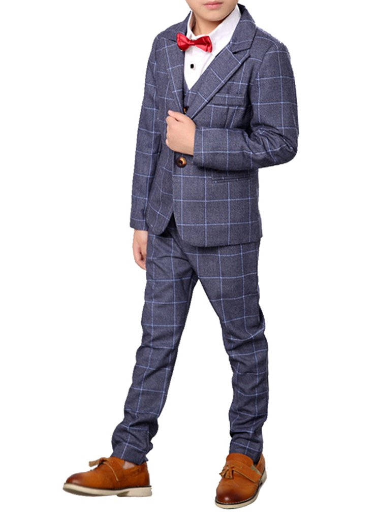 Boys Plaid Gray Blue Red Suit Set with Grid 3 Pieces Jacket Vest Pants Set (12, Gray)