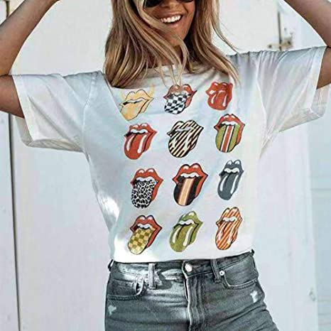 Chaleco De Manga Corta Lengua Grande Divertida Camiseta De Algodón ...