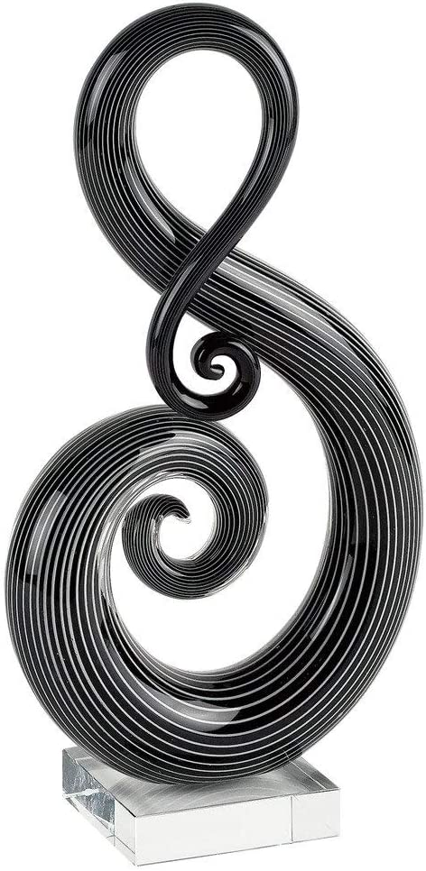 "Badash ""The G Clef"" - Murano Style Art Glass Sculpture - Home Decor Accent Piece - Contemporary Handcrafted Design Over 11"" on Crystal Engravable Base Crystal"