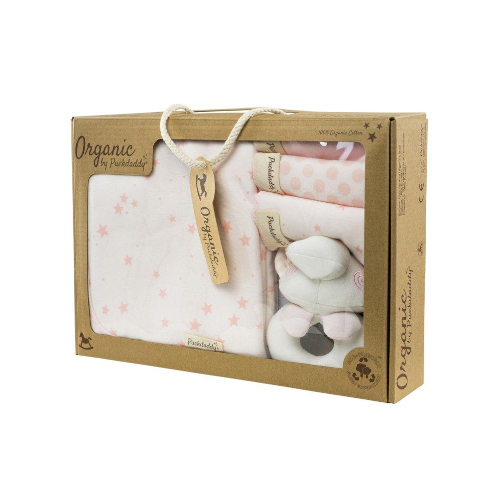 Puckdaddy Organic WaschsetSterne rosa Taufe Geschenkset zur Geburt