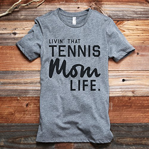 fan products of Livin' That Tennis Mom Life Women's Fashion Relaxed T-Shirt Tee Heather Grey