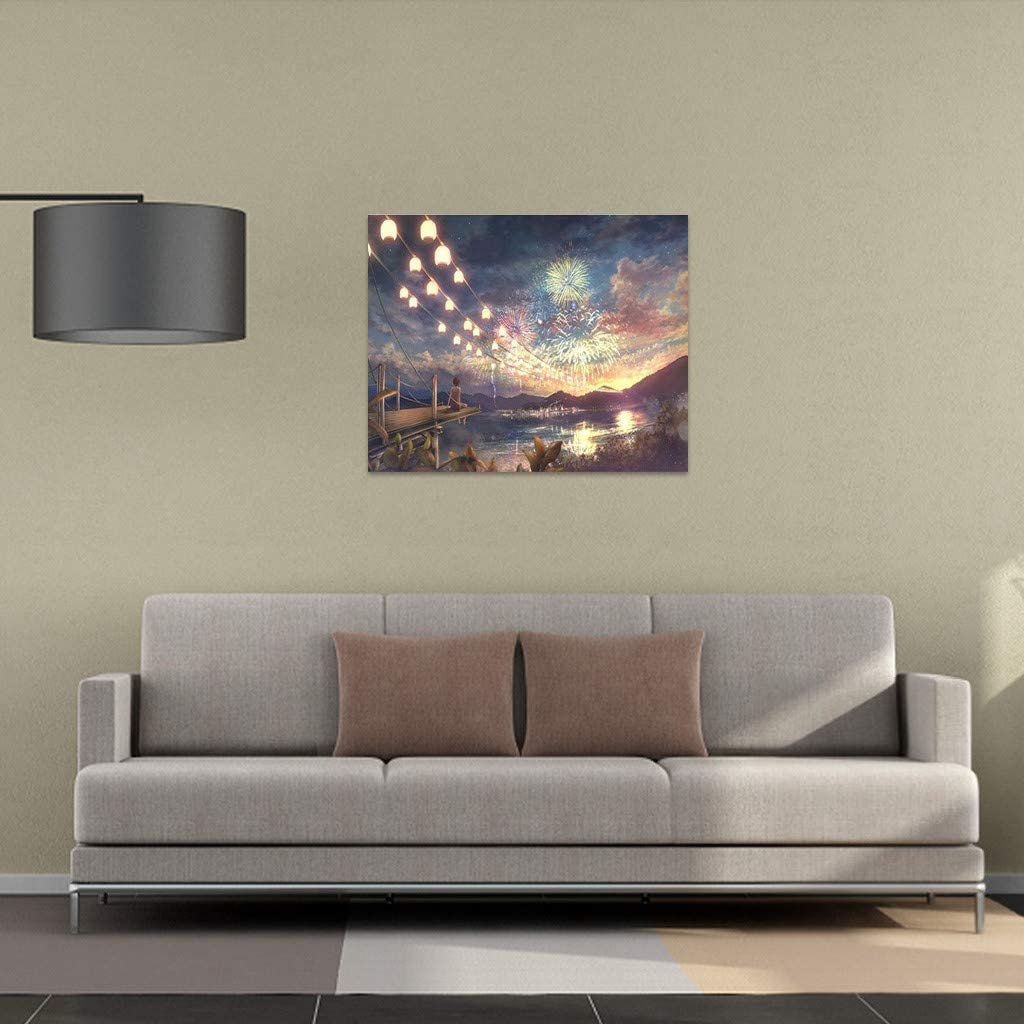 15.75/×19.69inch Frameless Klions DIY Painting by Number Kits Pier Firework Oil Paint Drawing Color Bottom Canvas with Brushes Home Decorations Gifts