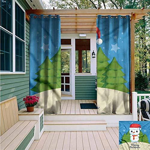 Beihai1Sun Curtains for Living Room,Kawaii Snowman with Santa Hat Scarf,for Patio/Front Porch,W72x84L]()