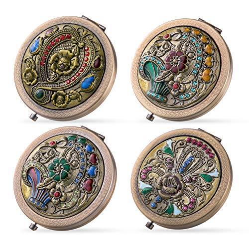 BMC 4pc Womens Pocket Size Antique Metal Double-Sided Magnifing Compact Mirror with Clasp - Assorted Vintage Brass Style Embellished Rhinestone ()