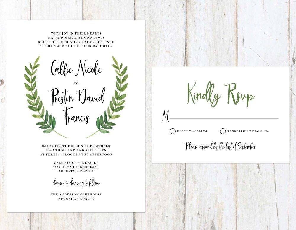 Greenery Wedding Invitation, Leaves Wedding Invitation, Garden Fern Wedding Invitation, Romantic Garden Wedding