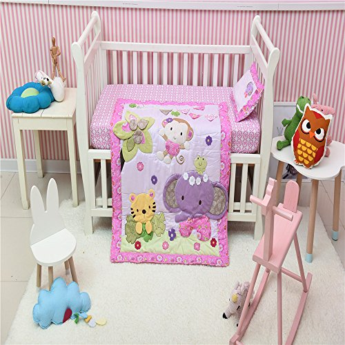 (Pink Elephant Monkey Tiger Crib Set Cotton Crib Bedding Set for Baby Girl 3 PCS 1 Quilt+1 Pillow+ 1 Fitted Sheet)