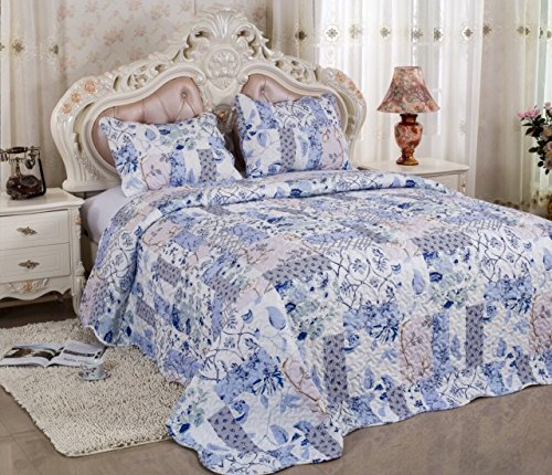 Basic Microfiber Quilt  Hypoallergenic  Machine Quilting  Pattern Stitched By Real Threads  Full Queen 85 L 85 W Bed Cover With Free 2 Shams  Lightweight  Super Budget  Great Deal  Washable  Durable