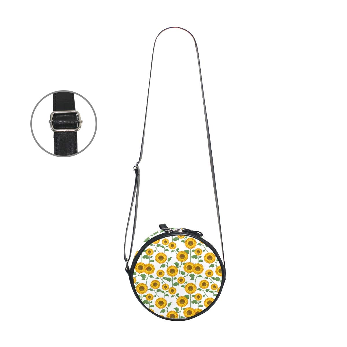 Crossbody Bag Sunflowers Sunny Pattern Womens Casual Phone Pouch Round Shoulder Bag