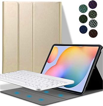 YGoal Teclado Funda para Galaxy Tab S7 Plus, [QWERTY Inglés Layout] 7 Colors Backlit PU Cuero Funda con Desmontable Wireless Teclado para Samsung ...