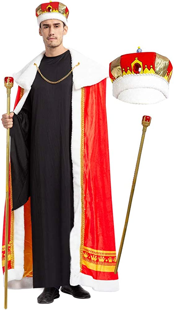 Spooktacular Creations Regal King Royal Robe Halloween Costume Set with King Crown and Scepter (Standard) Red