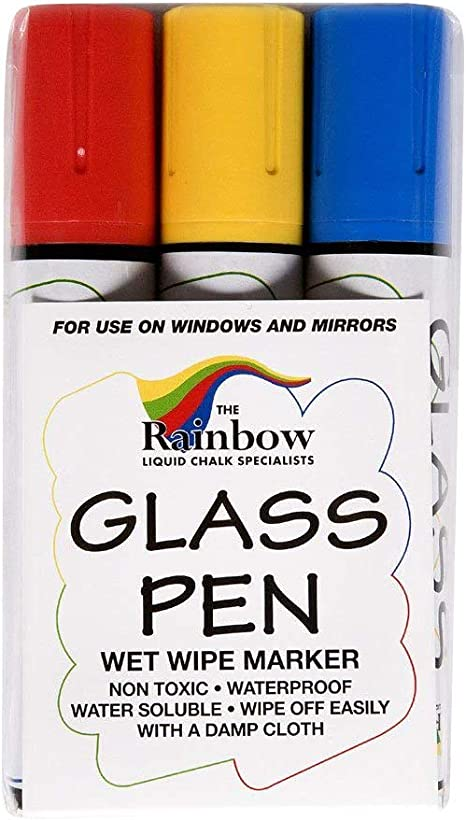 Green Storefronts Glass Pen Markers Red Non-Toxic Remove with Damp Cloth Write on Windows Signs Mirrors Blue Yellow White 5 Pack