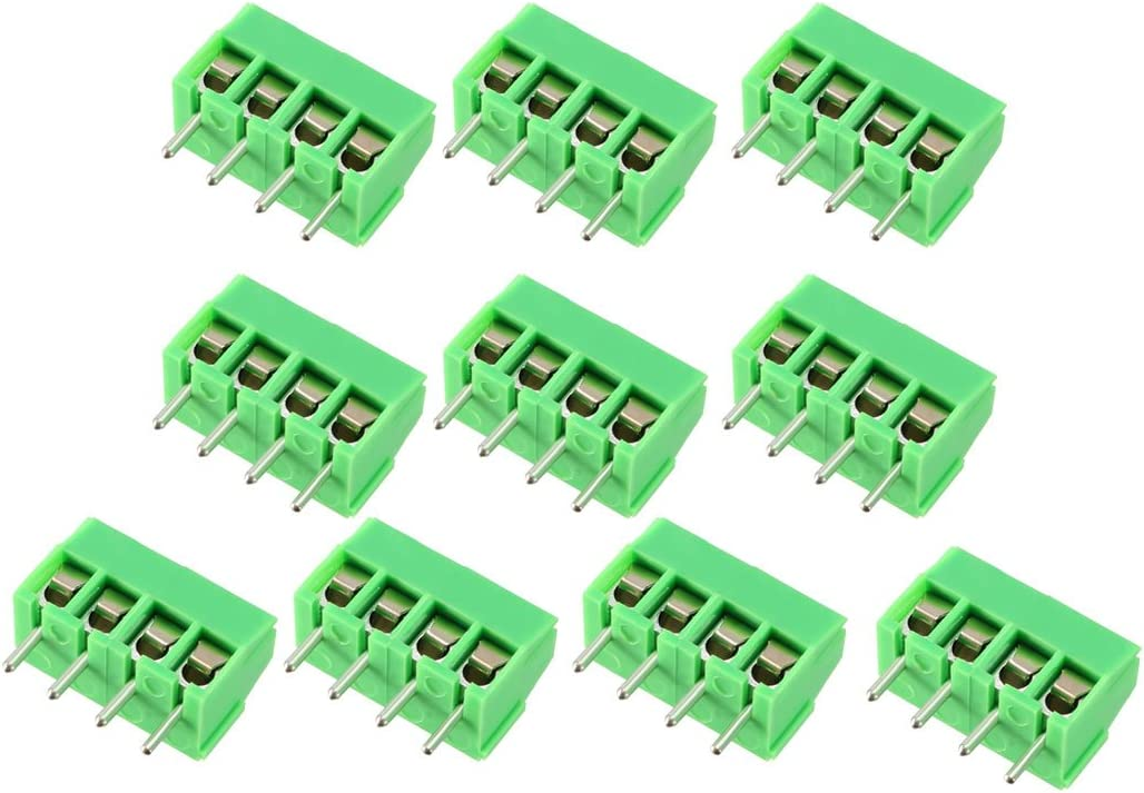 uxcell 15Pcs AC300V 20A 8.25mm Pitch 3P Flat Angle Needle Seat Fence Type PCB Terminal Block Connector Black
