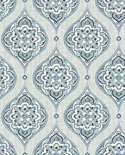 A-Street Prints 2821-25146 Adele Aqua Damask ()