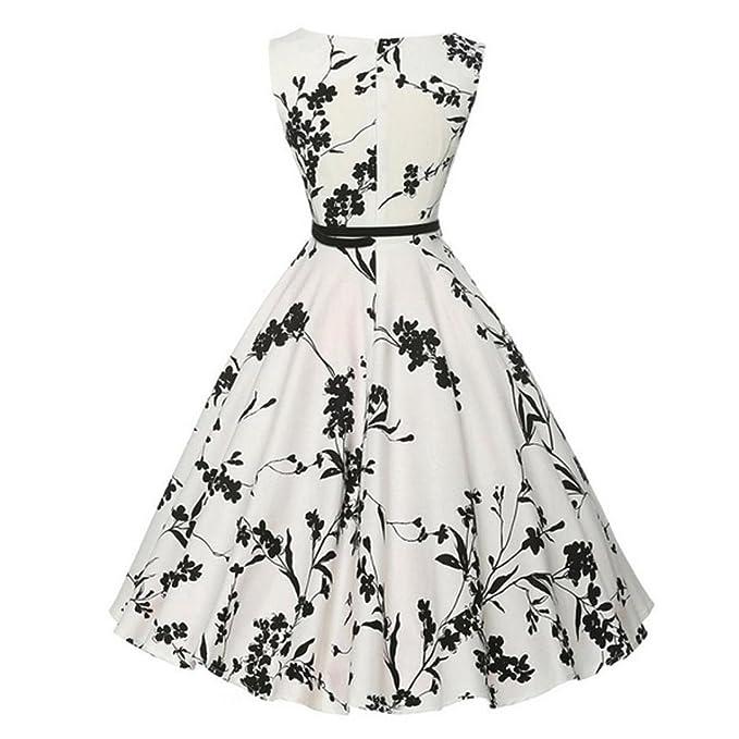 AmazingDays vestidos Vestidos Mujer Playa Fiesta Vestido Vintage Estampado De Flores Vintage Flaco Hepburn Imprimir Cintura Manga Sin Mangas Fiesta De Noche ...