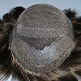 Dark Brown Mens Toupee Hairpiece Hair System 100% Human Hair #3 Color