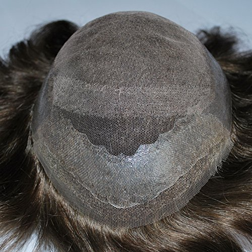 Dark Brown Mens Toupee Hairpiece Hair System 100% Human Hair #3 Color by Suncolor Hair